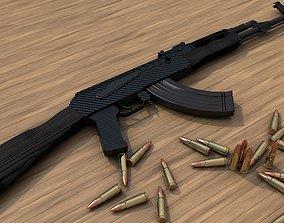 Ak-47 with bullets 3D asset