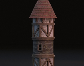 Medieval tower 3D model beam
