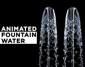 3D Animated Water Fountain Flow - Liquid simulation