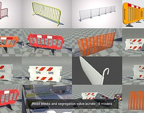 3D model Road blocks and segregation value bundle