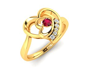 Women heart Ring 3dm render detail brillant