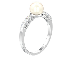 Classic diamond ring with pearl 3D print model