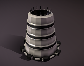 Atomic Cooling Tower 3D asset low-poly