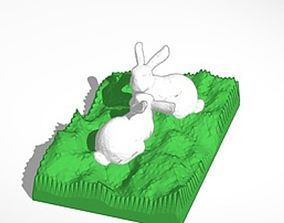 3D printable model two bunnies looking at each other