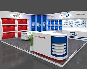 Exhibition stall 3d model 6x5 mtr 2sides open Apple RO