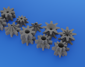 3D asset 10 plastic eight-tooth gears for your work