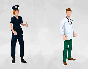 rigged 3D model Police Woman and Doctor Low Poly Rigged