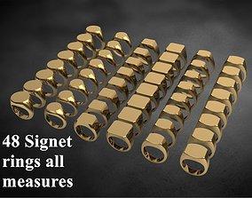 3D printable model 48 signet rings