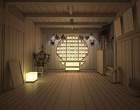3D Chinese Style Empty Room