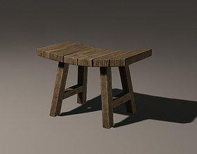 Wooden Stool bark 3D model