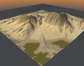 3D model Lowpoly Mountain x2