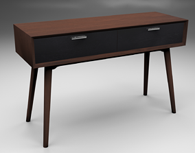 Walnut Console Table 3D model