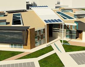 3D model exterior-public University - high school