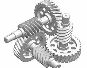 vehicle Curiously worm gear mechanism 3D model