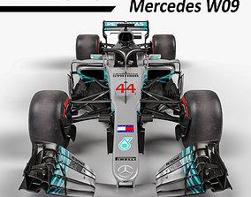 F1 Mercedes W09 2018 3D model low-poly