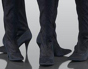 3D asset Kneehigh Black Velvet Boots
