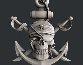 3d STL models for CNC router pirate skull