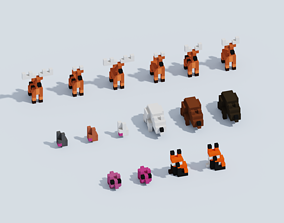 3D model VR / AR ready Voxel Forest Animals