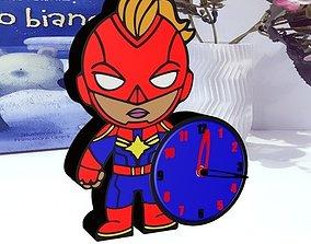 Clock decor inspired Captain Marvel 3D print model