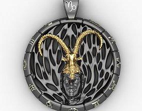 Pendant Capricorn zodiac sign 3D printable model