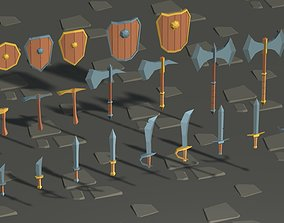 3D model Lowpoly Medieval Fantasy Weapons