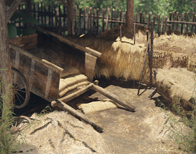 3D asset Hay and Haystack Props - PBR and Game Ready