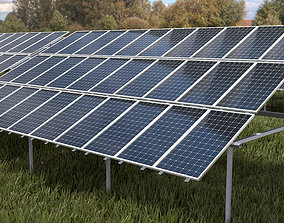 3x10 pv solar panel array 3D asset