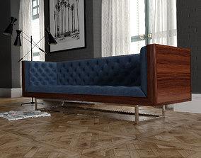 Milo Baughman velevet sofa 3D model