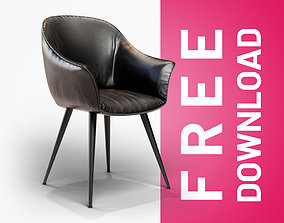 Black Leather Chair 3D model realtime