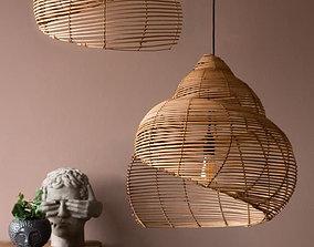 Spiral Shell Shaped Rattan Ceiling Lamp 3D model