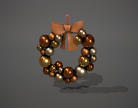Bronze and Gold Christmas Bauble Wreath 3D model