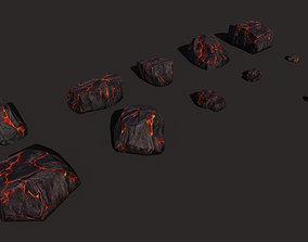 Cartoon Rock Styled Lava set PBR 3D asset
