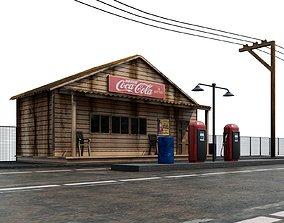 3D model Old gas station - old gas pump