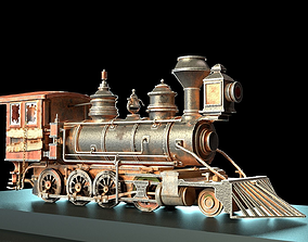 3D model Rustic Steam Train Locomotive