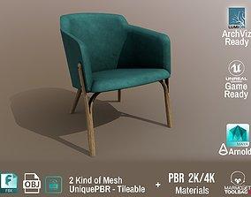 Ton Split Lounge ArmChair Velvet Old Design PBR 3D model 4