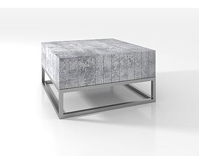 3D Concrete and Chrome Coffee Table