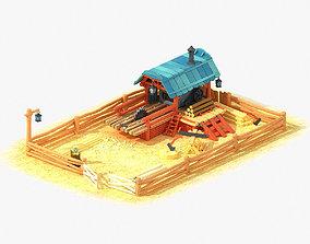 Cartoon Sawmill 3D asset
