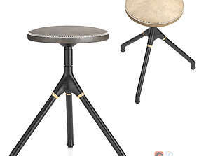 District Eight-Akron Low Stool With Leather Seat 3D model