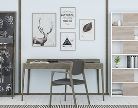 animated Study Room interior with Furniture model by 1