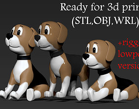 Dog toon 3 poses 3D printable model