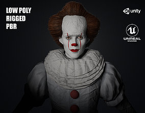 Low Poly Clown 3D Model rigged