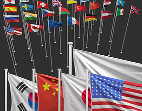 Flags of the world 3D model