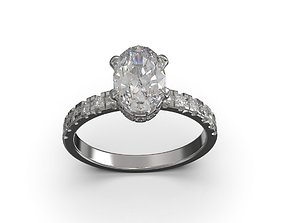oval solitaire engagement ring 3D print model