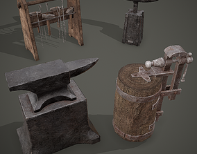 Medieval Blacksmith Furniture 4 Pack 3D