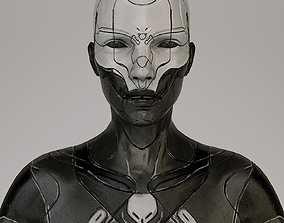 scifi woman Low-poly 3D asset rigged