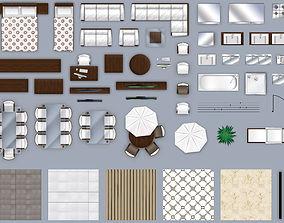 3D model 2d furniture floorplan top-down view style-2 PSD
