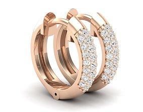 3D print model Diamond Huggies Hoop earrings for
