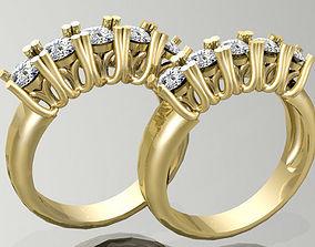 Gold Ring 3D print model silver gem
