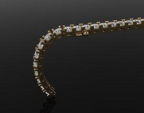3D printable model Box Style Diamond Tennis Bracelet