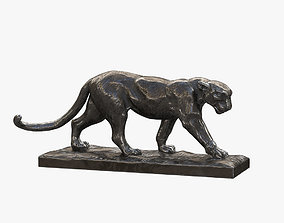 3D model realtime Walking Leopard Bronze Sculpture